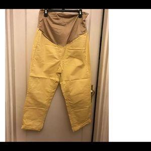 NWT Loft Cropped Maternity Pants Full Panel Yellow